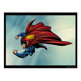 Superman flys with cape post card