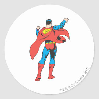 Superman From Behind Classic Round Sticker