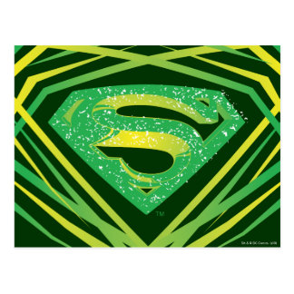 Superman Green Decorative Logo Post Cards