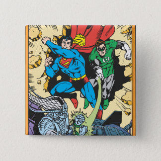 Superman & Green Lantern Fight Brainiac Pinback Button
