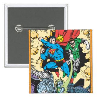 Superman & Green Lantern Fight Brainiac Pinback Button