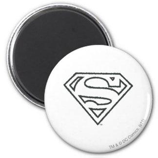 Superman Grunge Logo 2 2 Inch Round Magnet