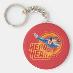 Superman Hero with Heart Basic Round Button Keychain