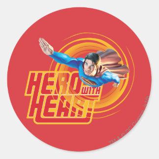 Superman Hero with Heart Classic Round Sticker