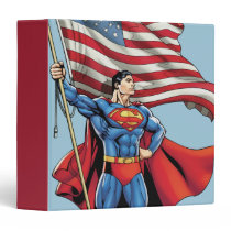 Superman Holding US Flag 3 Ring Binder