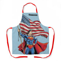 Superman Holding US Flag Apron