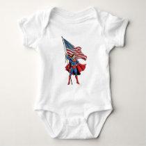 Superman Holding US Flag Baby Bodysuit