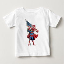 Superman Holding US Flag Baby T-Shirt