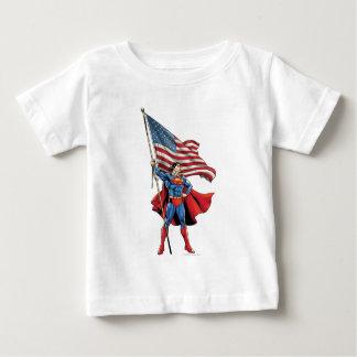 Superman Holding US Flag Baby T-Shirt
