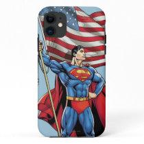 Superman Holding US Flag iPhone 11 Case
