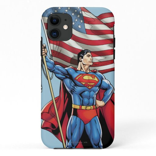 Superman Holding US Flag iPhone 11 Case