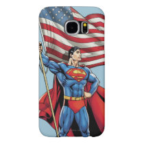 Superman Holding US Flag Samsung Galaxy S6 Case