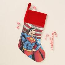 Superman Holding US Flag Christmas Stocking