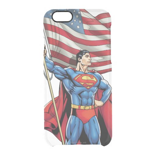 Superman Holding US Flag Clear iPhone 6/6S Case
