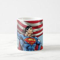Superman Holding US Flag Coffee Mug