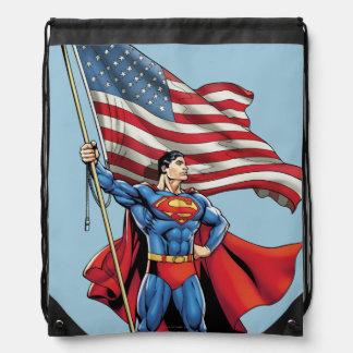Superman Holding US Flag Drawstring Backpack