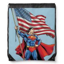 Superman Holding US Flag Drawstring Bag