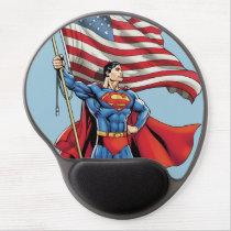 Superman Holding US Flag Gel Mouse Pad