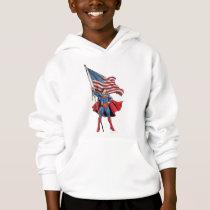 Superman Holding US Flag Hoodie