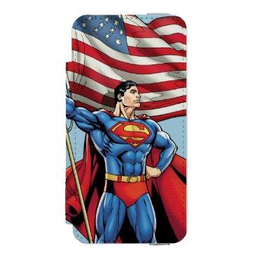 Superman Holding US Flag iPhone SE/5/5s Wallet Case