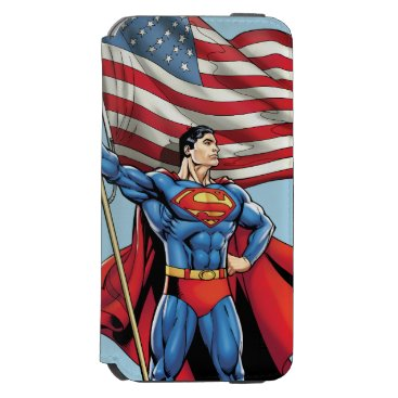 Superman Holding US Flag iPhone 6/6s Wallet Case