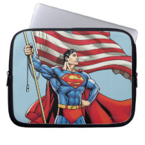 Superman Holding US Flag Laptop Sleeve