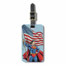 Superman Holding US Flag Luggage Tag