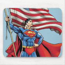Superman Holding US Flag Mouse Pad
