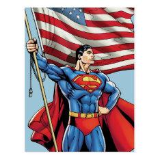 Superman Holding Us Flag Postcard at Zazzle