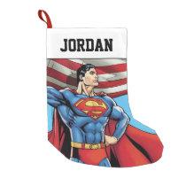 Superman Holding US Flag Small Christmas Stocking