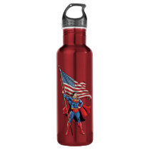 Superman Holding US Flag Stainless Steel Water Bottle