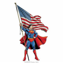 Superman Holding US Flag Statuette