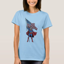 Superman Holding US Flag T-Shirt