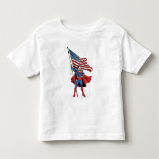 Superman Holding US Flag T Shirt
