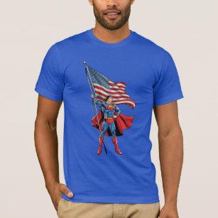 Superman-Wartorn Flag Adult Ringer T-Shirt