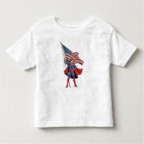 Superman Holding US Flag Toddler T-shirt
