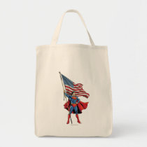 Superman Holding US Flag Tote Bag
