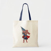 Superman Holding US Flag Tote Bag