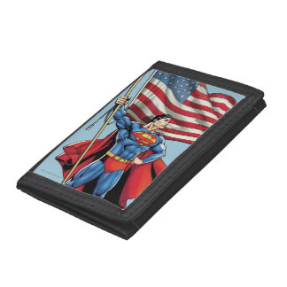 Superman Holding US Flag Trifold Wallets