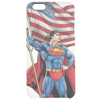 Superman Holding US Flag Clear iPhone 6 Plus Case