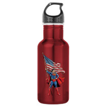 Superman Holding US Flag Water Bottle