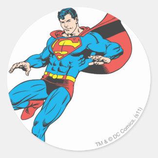 Superman Lands Lightly 2 Classic Round Sticker