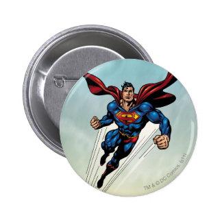 Superman leaps upward 2 inch round button
