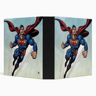 Superman leaps upward 3 ring binder