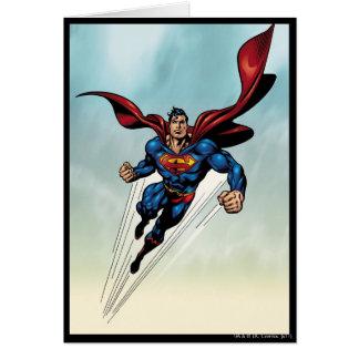 Superman leaps upward card