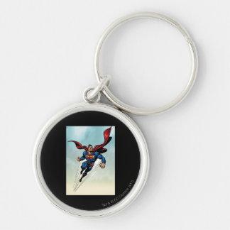 Superman leaps upward keychain