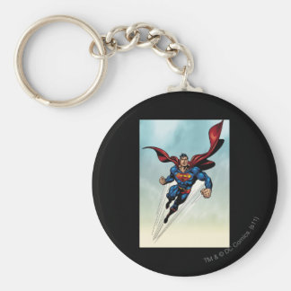 Superman leaps upward key chain