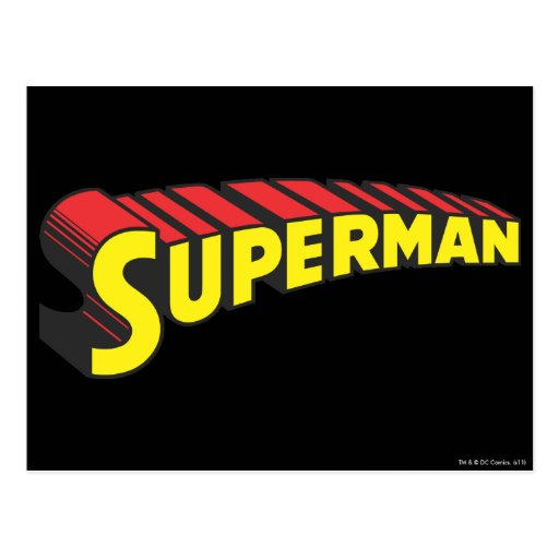 Superman Letters Yellow/Red Postcard | Zazzle