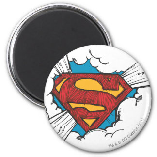 Superman logo in clouds 2 inch round magnet