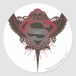 Superman Logo Skull and Wings Round Sticker